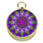 Rainbow At Dusk, Abstract Star Of Light Gold Compass Front
