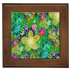 Beautiful Flower Power Batik Framed Ceramic Tile