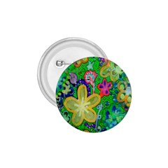 Beautiful Flower Power Batik 1.75  Button