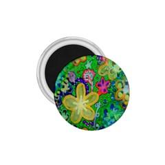 Beautiful Flower Power Batik 1.75  Button Magnet