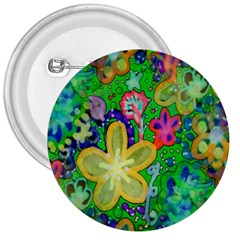 Beautiful Flower Power Batik 3  Button