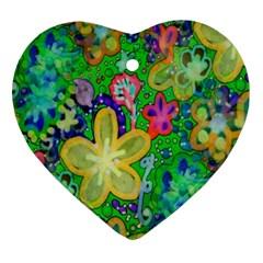 Beautiful Flower Power Batik Heart Ornament
