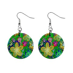 Beautiful Flower Power Batik Mini Button Earrings