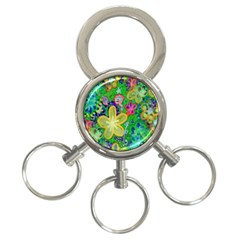 Beautiful Flower Power Batik 3-Ring Key Chain