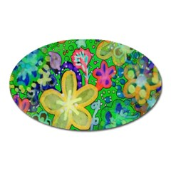 Beautiful Flower Power Batik Magnet (Oval)