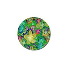 Beautiful Flower Power Batik Golf Ball Marker