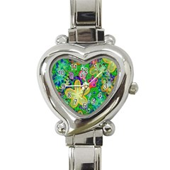 Beautiful Flower Power Batik Heart Italian Charm Watch