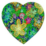 Beautiful Flower Power Batik Jigsaw Puzzle (Heart) Front