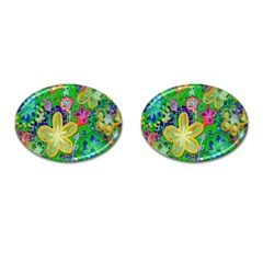 Beautiful Flower Power Batik Cufflinks (oval)