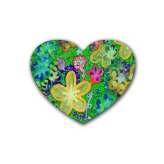 Beautiful Flower Power Batik Drink Coasters 4 Pack (Heart)