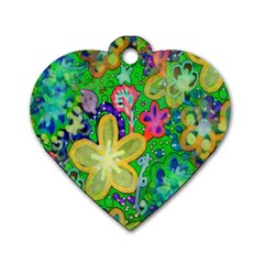 Beautiful Flower Power Batik Dog Tag Heart (Two Sided)
