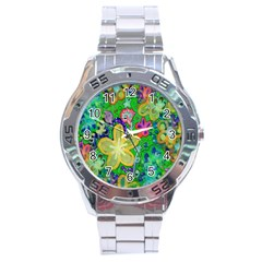 Beautiful Flower Power Batik Stainless Steel Watch