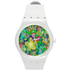 Beautiful Flower Power Batik Plastic Sport Watch (Medium)