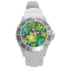 Beautiful Flower Power Batik Plastic Sport Watch (large)