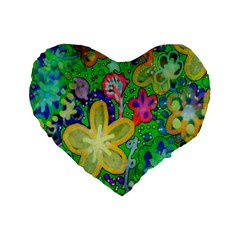 Beautiful Flower Power Batik 16  Premium Heart Shape Cushion