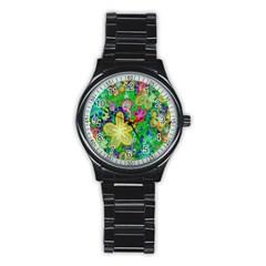 Beautiful Flower Power Batik Sport Metal Watch (Black)