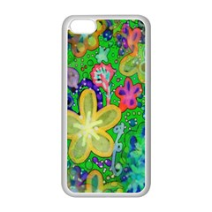 Beautiful Flower Power Batik Apple iPhone 5C Seamless Case (White)