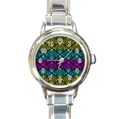 Cmyk Damask Flourish Pattern Round Italian Charm Watch