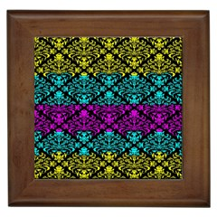 Cmyk Damask Flourish Pattern Framed Ceramic Tile