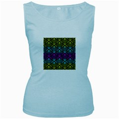 Cmyk Damask Flourish Pattern Women s Tank Top (Baby Blue)