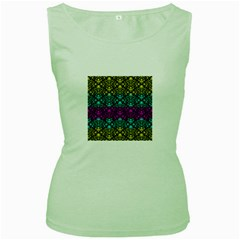 Cmyk Damask Flourish Pattern Women s Tank Top (green)