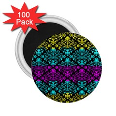 Cmyk Damask Flourish Pattern 2.25  Button Magnet (100 pack)