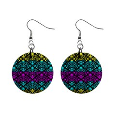 Cmyk Damask Flourish Pattern Mini Button Earrings