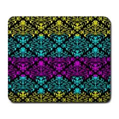Cmyk Damask Flourish Pattern Large Mouse Pad (rectangle)