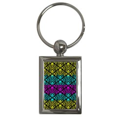 Cmyk Damask Flourish Pattern Key Chain (Rectangle)