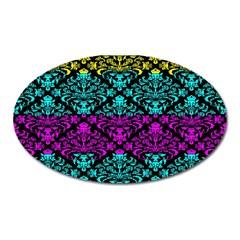 Cmyk Damask Flourish Pattern Magnet (oval)