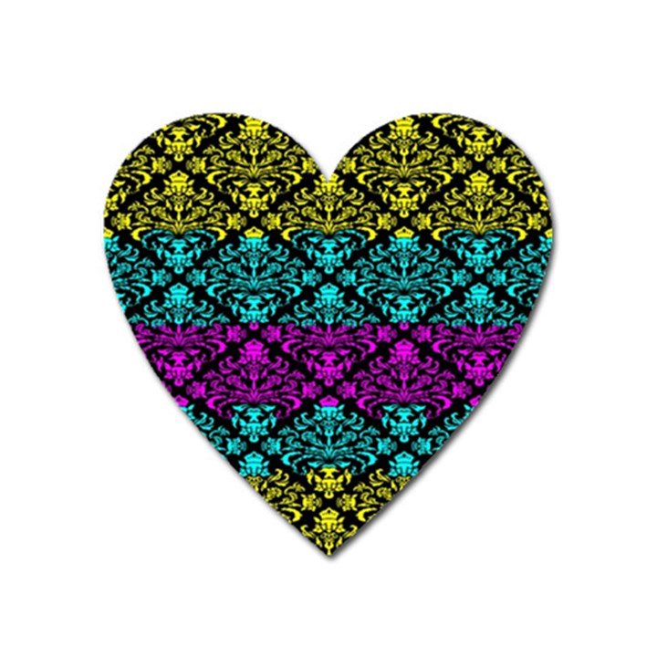 Cmyk Damask Flourish Pattern Magnet (Heart)