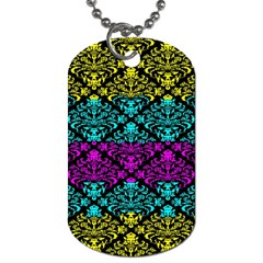 Cmyk Damask Flourish Pattern Dog Tag (Two-sided)
