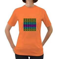 Cmyk Damask Flourish Pattern Women s T-shirt (Colored)