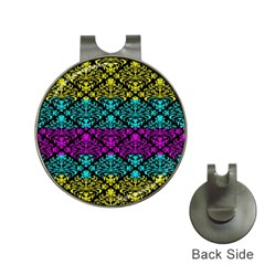 Cmyk Damask Flourish Pattern Hat Clip with Golf Ball Marker