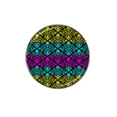 Cmyk Damask Flourish Pattern Golf Ball Marker (for Hat Clip)