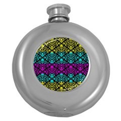 Cmyk Damask Flourish Pattern Hip Flask (round)