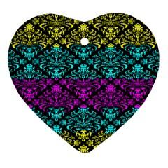 Cmyk Damask Flourish Pattern Heart Ornament (Two Sides)