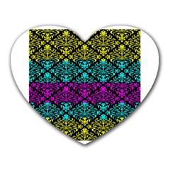 Cmyk Damask Flourish Pattern Mouse Pad (heart)