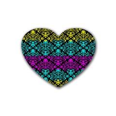 Cmyk Damask Flourish Pattern Drink Coasters 4 Pack (heart)