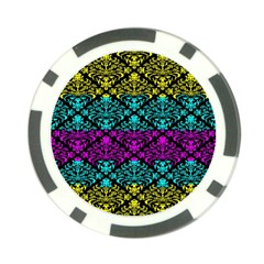 Cmyk Damask Flourish Pattern Poker Chip