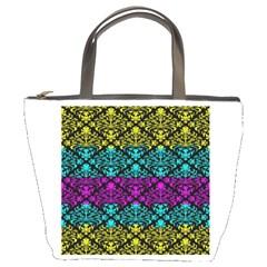 Cmyk Damask Flourish Pattern Bucket Handbag