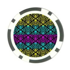 Cmyk Damask Flourish Pattern Poker Chip (10 Pack)