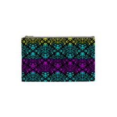 Cmyk Damask Flourish Pattern Cosmetic Bag (small)