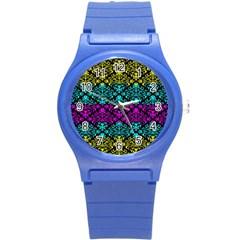 Cmyk Damask Flourish Pattern Plastic Sport Watch (Small)