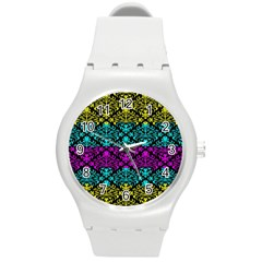 Cmyk Damask Flourish Pattern Plastic Sport Watch (Medium)