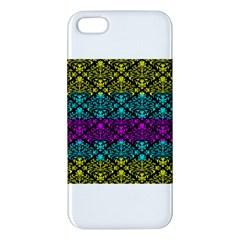 Cmyk Damask Flourish Pattern Apple Iphone 5 Premium Hardshell Case