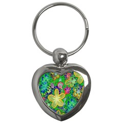 Beautiful Flower Power Batik Key Chain (Heart)