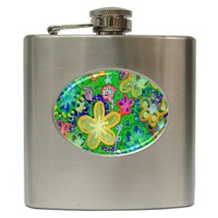 Beautiful Flower Power Batik Hip Flask