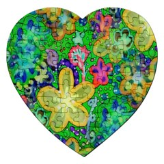 Beautiful Flower Power Batik Jigsaw Puzzle (Heart)