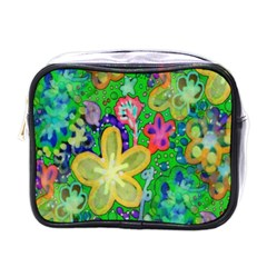 Beautiful Flower Power Batik Mini Travel Toiletry Bag (one Side)